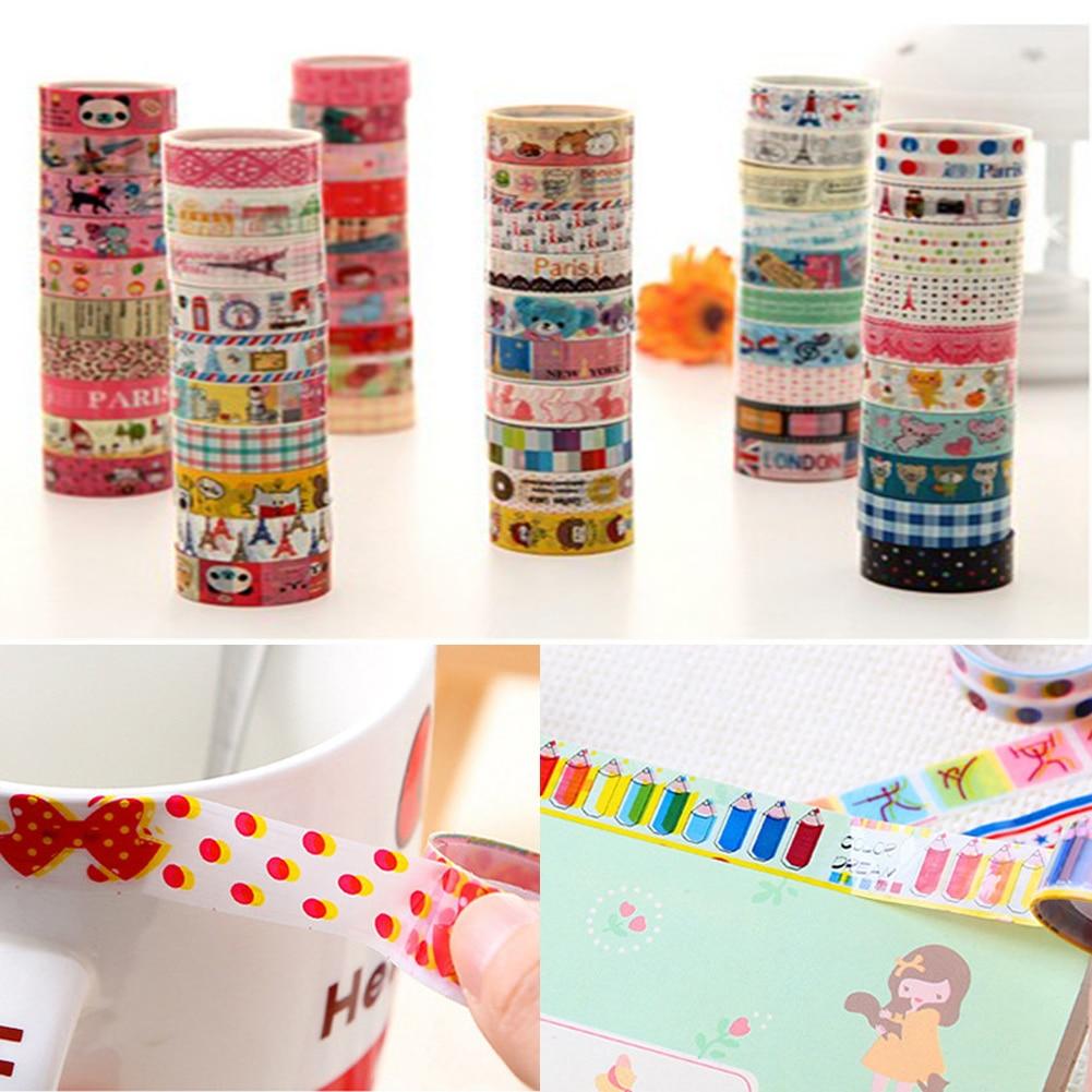10pc Flower Forest Dream Starry Sky Colorful Gilding Washi Tape DIY Scrapbooking Sticker Label Maski