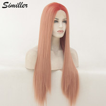 Similler Women Long Lace Front Synthetic Wigs Dark Root Pink Straight Hair High Temperature Fiber(China)