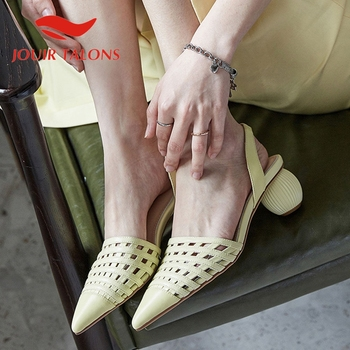 JOUIR TALONS 2020 Brand Design Genuine Leather Women Sandals Strange Style Heels Pointed Toe Pumps Summer Casual Woman Shoes