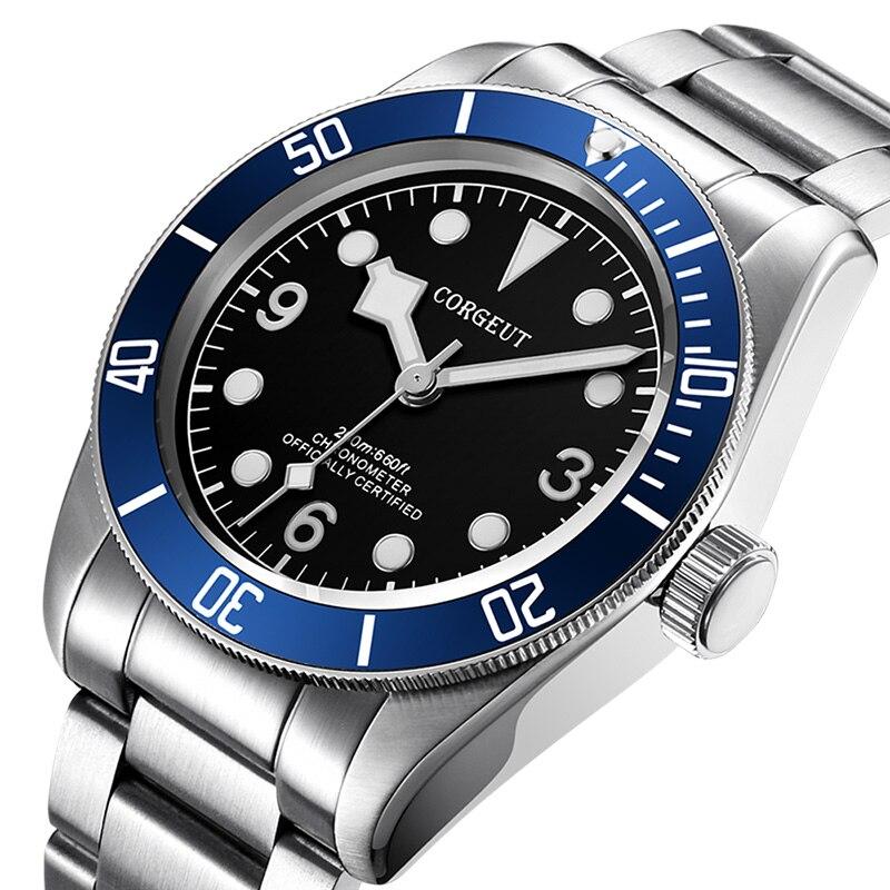 Männer Uhren Corgeut Top Marke Luxus Schwarz Bay lume Automatische Mechanische Uhr Männer Sport Schwimmen Uhr Military Handgelenk Uhren
