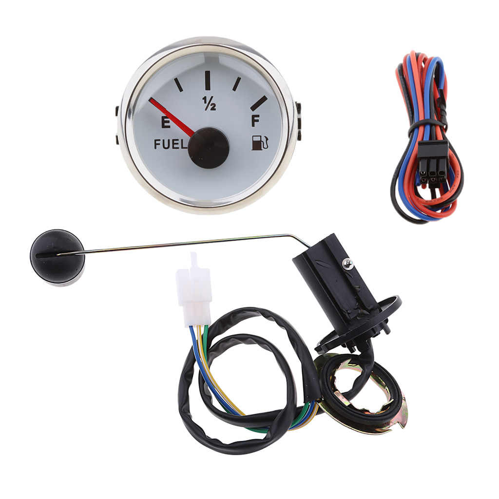 White Dial Silver Frame 52mm//2in Fuel Oil Tank Level Gauge 0-190ohm Signal Pointer Meter for Marine Boat Car Tank Gauge Level Indicator