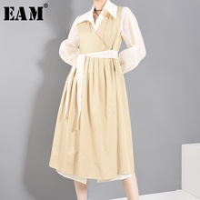 [EAM] Women Khaki Bandage Brief Big Size Trench New Lapel Long Sleeve Loose Fit