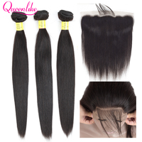 Queenlike 3 4 пучка бразильских волос плетение пучки с закрытием не Remy прямые человеческие волосы Кружева Фронтальная Закрытие с пучками