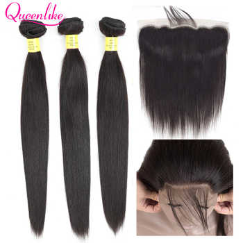 Queenlike 3 4 Bundles Brazilian Hair Weave Bundles With Closure Non Remy Straight Human Hair Lace Frontal Closure With Bundles - DISCOUNT ITEM  70% OFF All Category