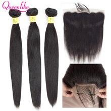 Queenlike 3 4 חבילות ברזילאי שיער Weave חבילות עם פרונטאלית ללא רמי ישר שיער טבעי תחרה פרונטאלית סגר עם חבילות