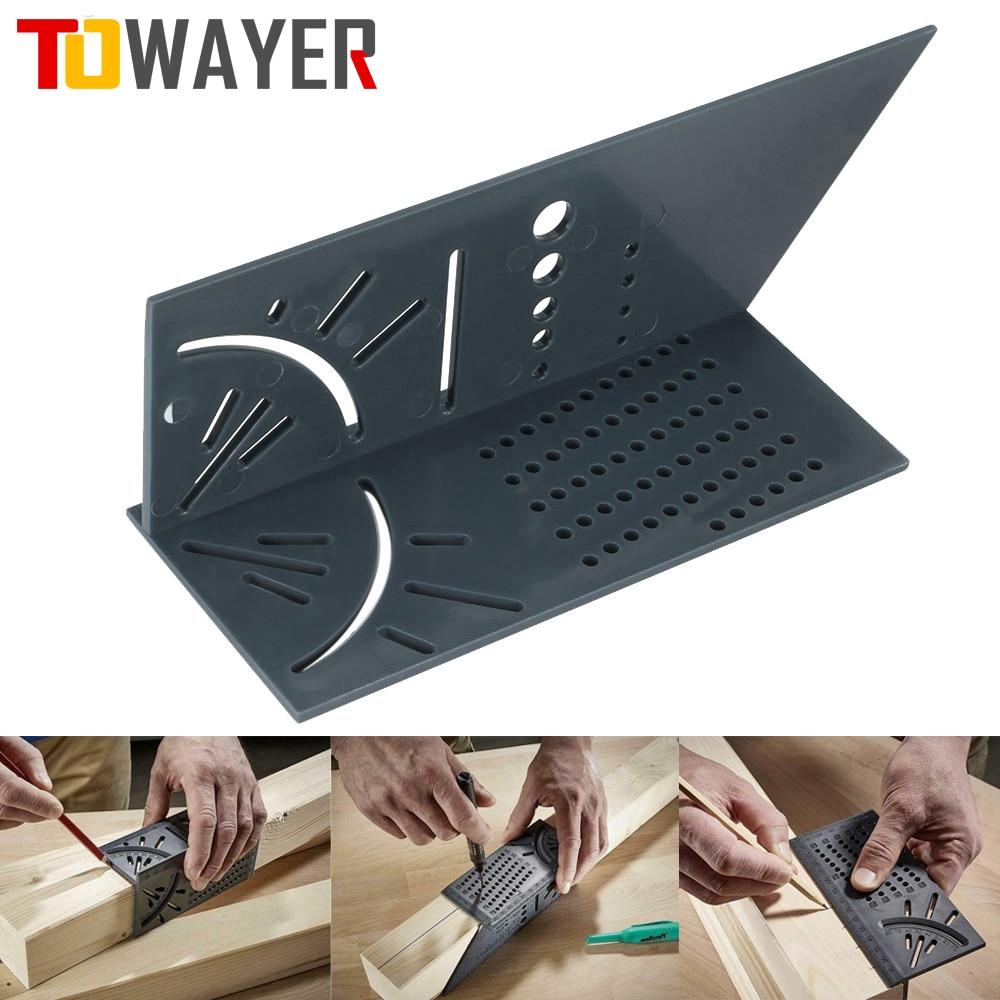 Towelyer-Regla de trabajo de madera, medidor de ángulo de inglete 3D, herramienta de medida de tamaño cuadrado, bolígrafo, calibrador de medición, herramienta de carpintero