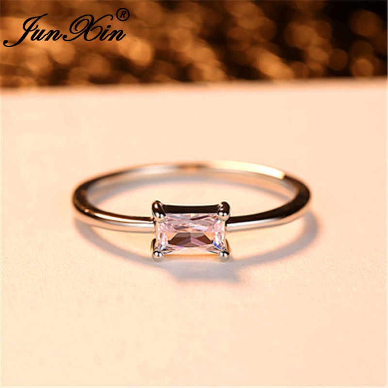 Minimalista Pequeño anillo de cristal rectangular plata amarillo oro rosa circonita blanca apilamiento anillos finos para mujeres anillo de apilamiento joyería