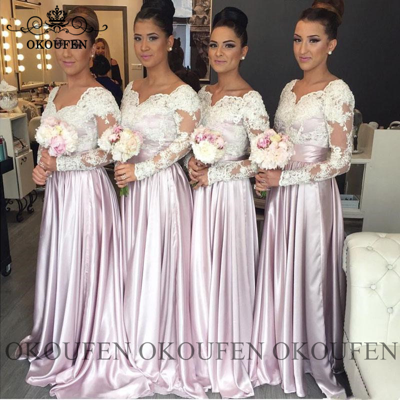 Gorgeous   Bridesmaid     Dresses   With Long Sleeves White Sheer Lace V Neck Maid Of Honor   Dress   Party Vestido Madrinha
