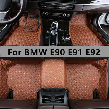 Custom Flash mat 5 Seats Car Accessories Leather Full Cover Foot Pads Floor Mats for BMW E90 E91 E92 All Models Carpet Full Set image