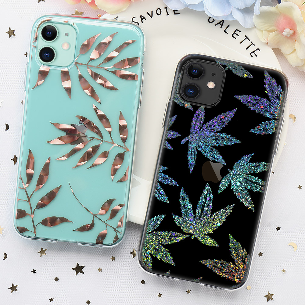 Glitter Leaf Silicon Case For iPhone 7 Plus 8 X Xr Xs Max SE 2020 2 Bling Shockproof Soft Phone Back Cover For iPhone 11 Pro Max
