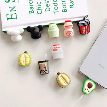 Cable Bite Protector for Iphone Cable Winder Phone Holder Accessory Cable Biters Squishy Doll Model Fruit Drink Avocado Durian(China)