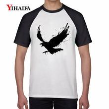 2019 Stylish Mens T Shirt Black Eagle 3D Print Shirts Animal Graphic Tees Men Casual White T-Shirt Hip Hop Summer Tops