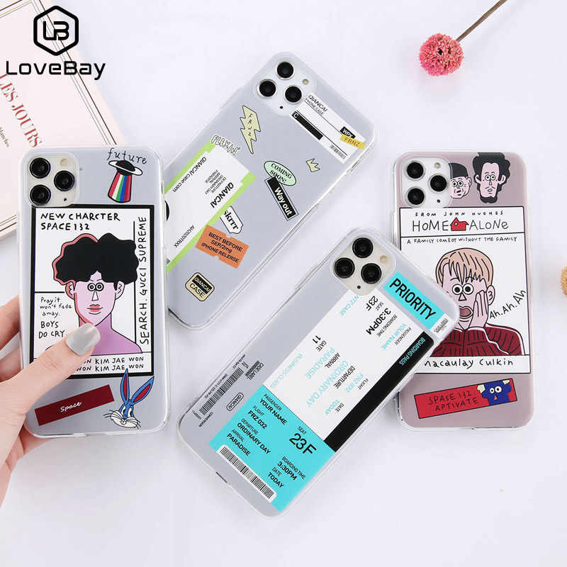 Lovebay Transparent Funny Cartoon Boy Phone Case For iPhone 11 Pro Max X XS XR Xs Max 6 6s 7 8 Plus Label Letters Soft TPU Cover