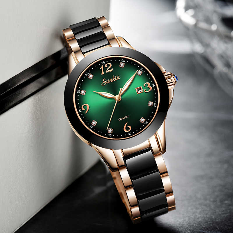 SUNKTA 2020 นาฬิกาแฟชั่นผู้หญิงนาฬิกาแฟชั่น Luminous Hands วันที่ Lndicator สแตนเลสสตีลนาฬิกาข้อมือควอตซ์ Lady สีเขียว Ghost