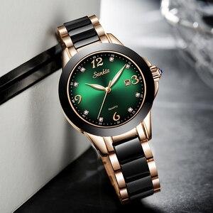 Image 4 - SUNKTA 2020 Watch Women Fashion Luminous Hands Date Lndicator Stainless Steel Strap Quartz Wrist Watches Lady Green Water Ghost