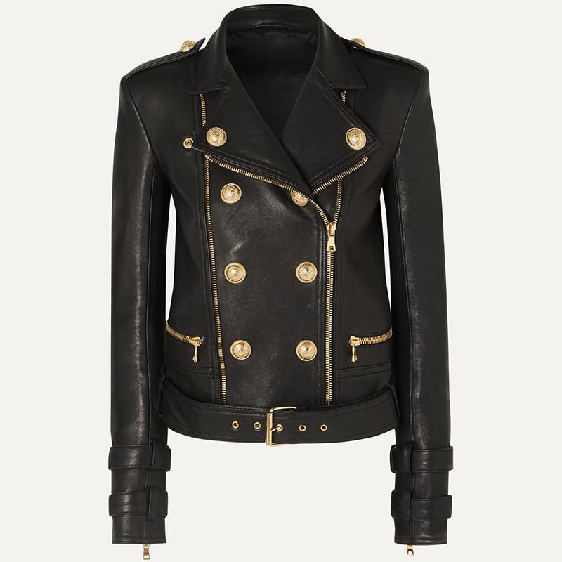 HIGH QUALITY 2020 Newest Designer Jacket Women's Lion Buttons Faux Leather Jacket Motorcycle Biker Jacket