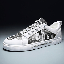 New men's shoes flat vulcanized casual shoes canvas print ca
