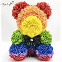 Romantik 40cm köpük ile gül kutusu + kırmızı petal oyuncak gül yapay çiçek kız için anne eşi sevgililer günü hediyeler
