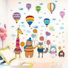 [shijuekongjian] Cartoon Animals Wall Stickers DIY Hot Airl Balloons Wall Decals for Kids Rooms Baby Bedroom Home Decoration [shijuekongjian] hot air balloon wall stickers diy cartoon wall decals for kids rooms baby bedroom shop glass decoration