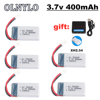 3.7V 400mAh 752035 20c lipo battery + 3.7v Charger For KY101 H31 X4 H107 H6C V252 E33C E33 U816A RC Drone spare parts 5pcs image