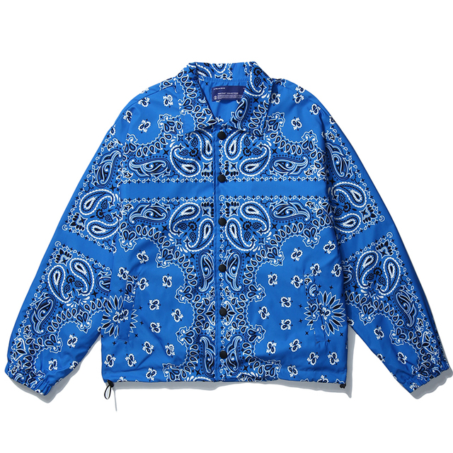 Mens Wear Hip Hop Bandana Paisley Pattern Bomber Jackets Windbreaker Harajuku Streetwear 2020 Autumn Casual Coats Tops Clothing 1