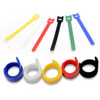 100PCS/Set Candy Color Data Cable Tie Nylon Hook Loop Cable Wiring Harness Cable Fastener Marker Straps Power Wire Management