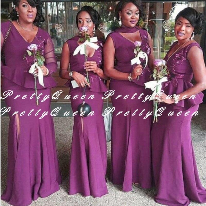2020 Purple Mermaid Bridesmaid Dresses With Appliques Peplums Side Split V Neck Vestidos Long Wedding Party Dress Gown