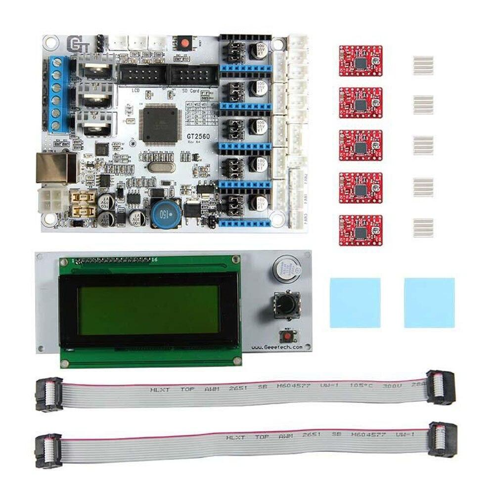 3D Imprimante Kit GT2560 Carte Contrôleur + LCD 2004 Affichage + 5 pièces A4988 Moteur pas à pas Pilote PUO88