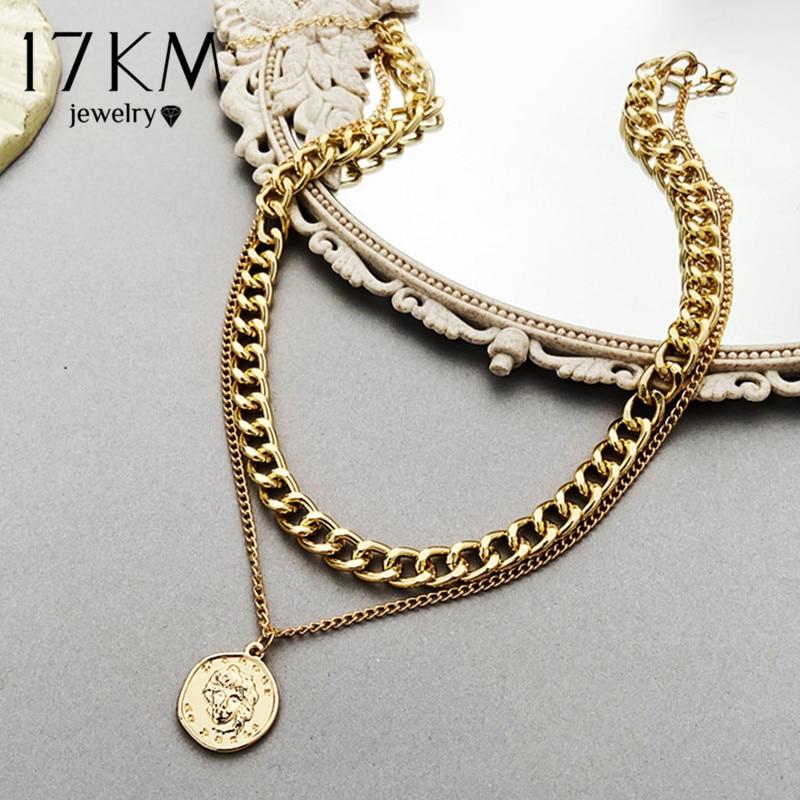 Collana girocollo a catena multistrato Vintage 17KM per donna colore argento dorato ritratto di moda collane a catena robusta gioielli 2
