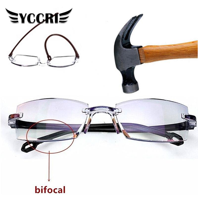 Men Rimless Reading Glasses Women Bifocal Far Anti Blue Light Magnification Eyewear Presbyopic Glasses Diopter +1.0 ~+4.0