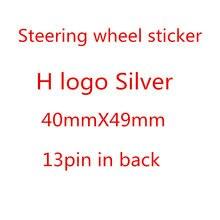 Abs estilo do carro de alta qualidade prata volante carro emblema emblema h logotipo apto para honda civic acessórios automóveis