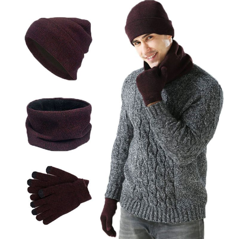 Mens Womens 3Pcs Knitted Cuffed Beanie Hat Loop Scarf Touch Screen Gloves Set