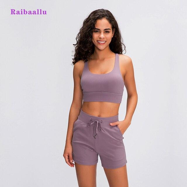 Raibaallu bahar/summershock geçirmez spor iç çamaşırı kadın crossover geri toplamak koşu yoga sutyen