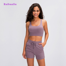 Raibaallu spring/summershock proof sports lingerie womens crossover back gather running yoga bra
