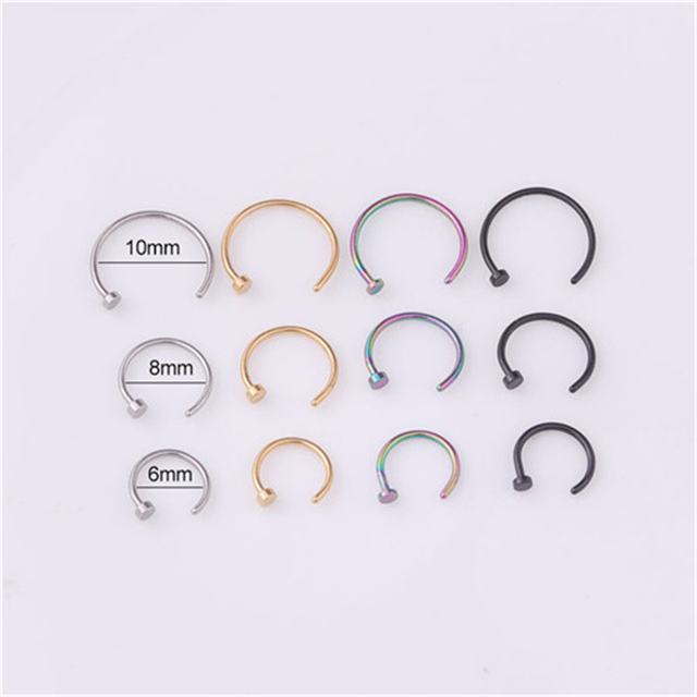 1pc/lot 6/8/10mm Punk Stainless Steel Fake Nose Ring C Clip Lip Ring Earring Helix Rook Tragus Faux Septum Body Piercing Jewelry
