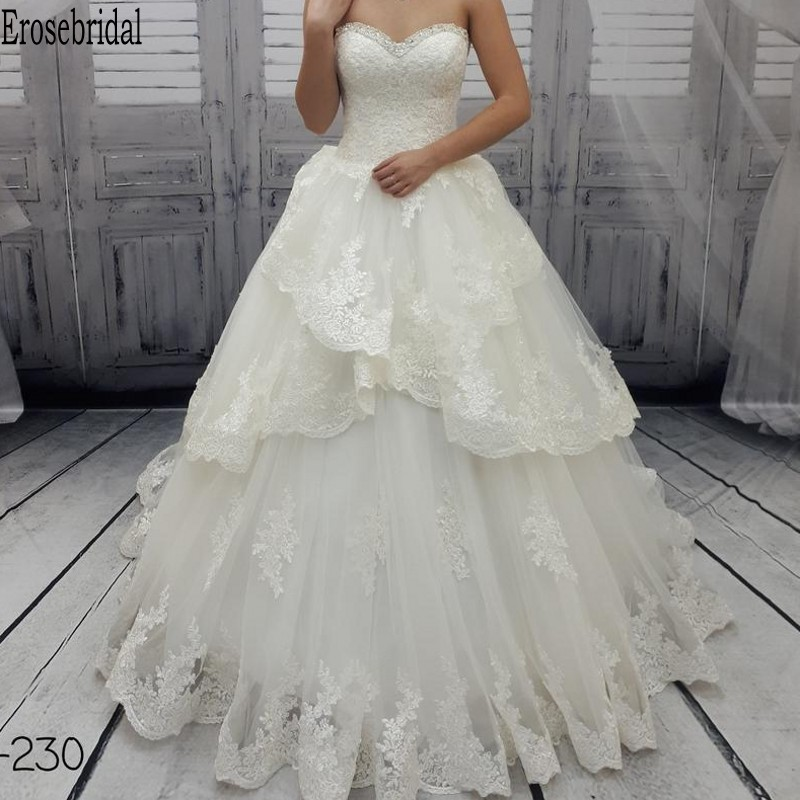 Beautiful Ball Gown Wedding Dress Plus Size Beads Sweetheart Neck 2020 Wedding Gown Bridal Lace Up Back Tiered Gown Long Train