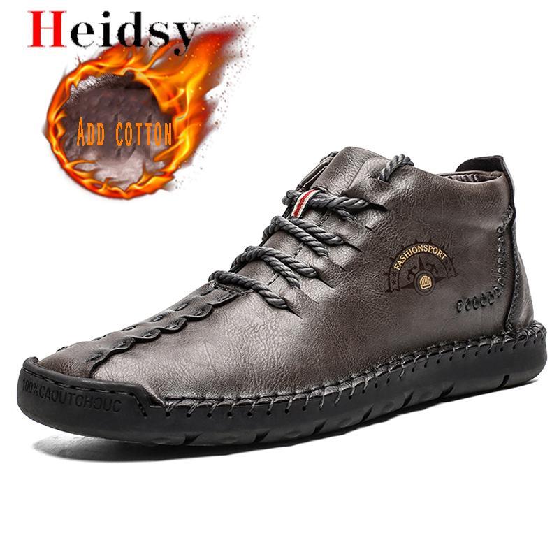 2019 New Men Boots Warm Fur Snow Boots Plush Lace-Up Fashion Men Shoes Winter Warm Man Leather Ankle Boots Shoes Big Size 38-50