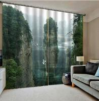 green high mountain curtains 3D Curtain Printing Blockout Polyester Photo Drapes Fabric For Room Decoration curtains|Curtains| |  -