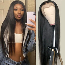 Wig Closure Human-Hair Lace-Frontal Wig-Preplucked Indian Straight Women 5x5 13x4 4x4