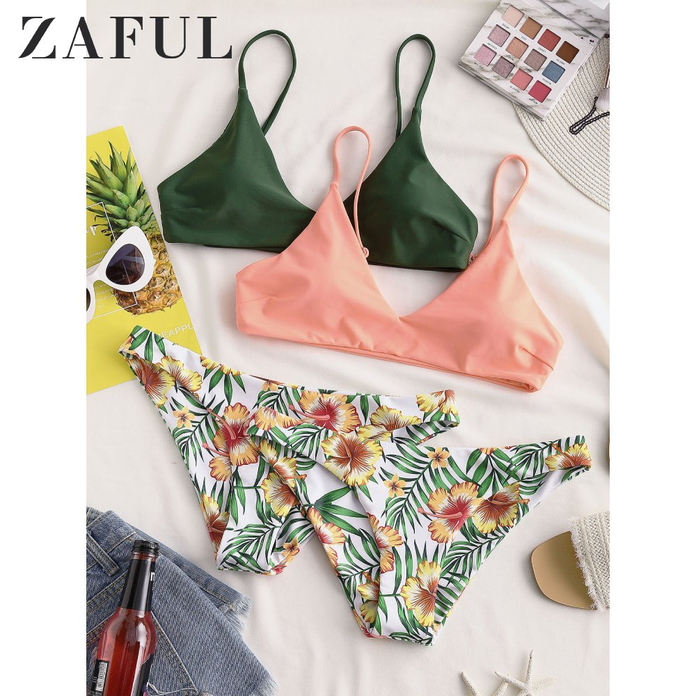 ZAFUL Bikinis Women Swimwears Floral Leaf Print Bralette Bikini Bohemian Swimsuit Low Waisted Bikinis Set Bathing Suit Female