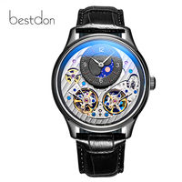 Double Skeleton MoonPhase switzerland luxury brand mechanical watch men full steel waterproof automatic men watches reloj montre