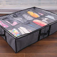 Organizador plegable debajo de la cama, caja para almacenamiento de zapatos, contenedor, bolsa de almacenamiento de ropa, plegable con funda transparente, cremallera, gris