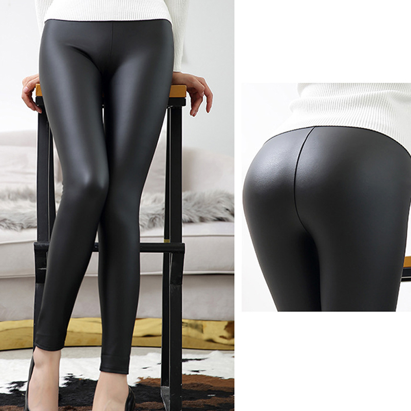 High Quality Matte PU Faux Leather Pants Women Winter Female High Waist Elastic Pu Leather Stretch Slim Women Pencil Pants