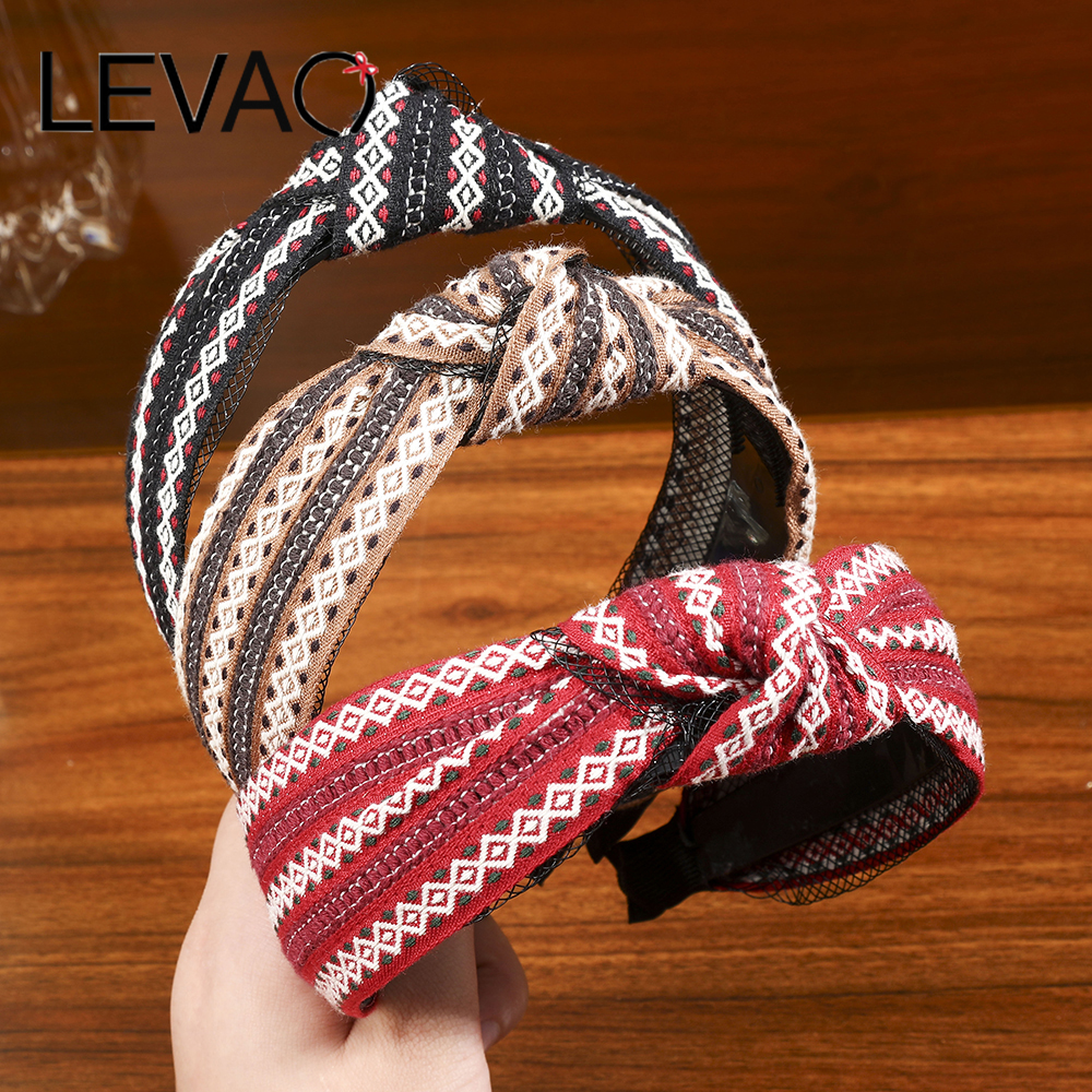 LEVAO Striped Braided Headband Fabric Knotted Diamond Headband Ladies Pressed Hairband Holiday Hair Accessories