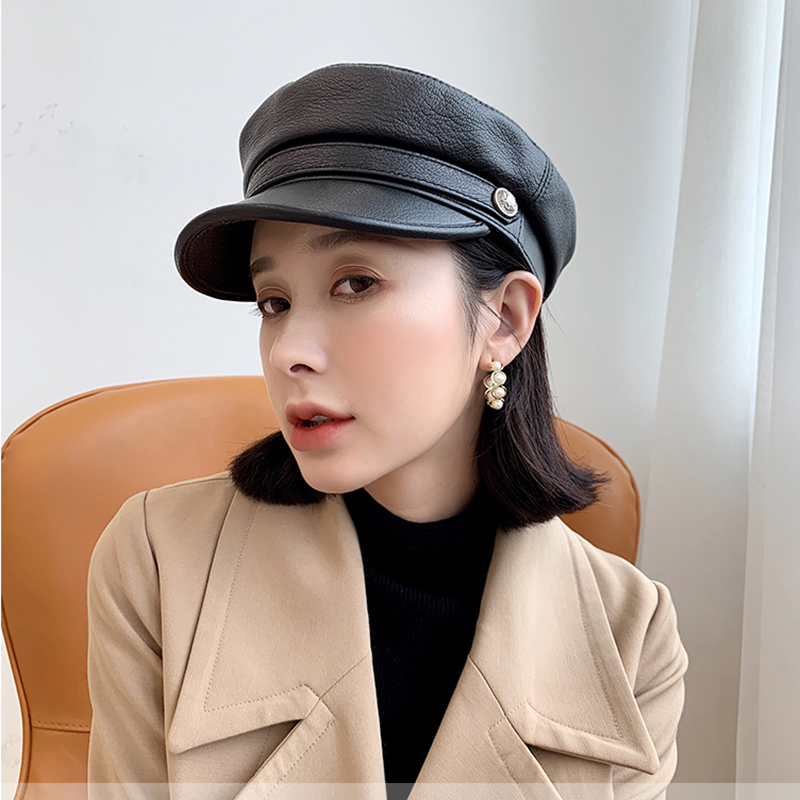 Women Soft Genuine Leather Cap Military Newsboy Autumn Winter British Style Adjustable Warm Gift Beret Retro Novidades