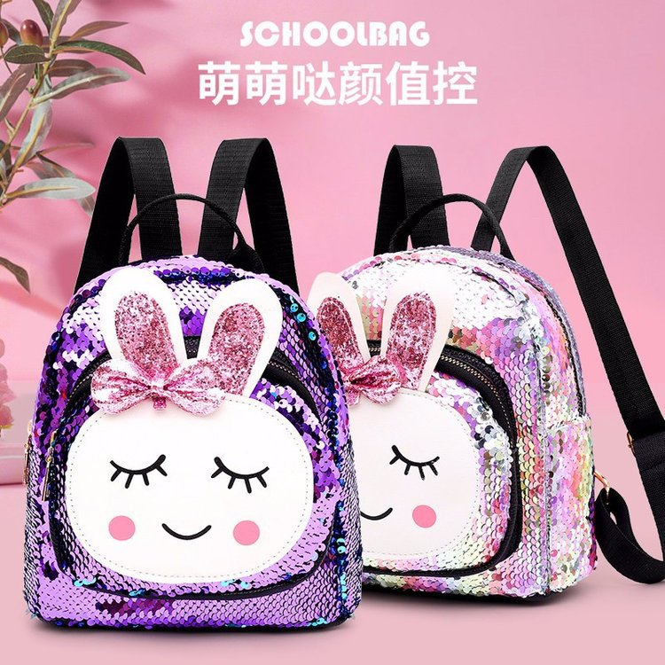STUDENT'S Backpack 2019 New Style Korean-style Cartoon Cute Bunny Sequin Fashion Backpack CHILDREN'S Primary School Backpack