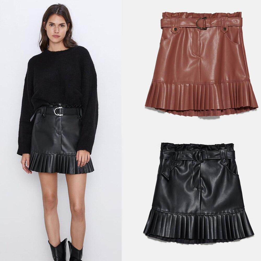ZA Skirt England Elegant Vintage High Waist Leather Skirt Women Fashion 2019 Skirts Women Autumn Newest Party Wholesale