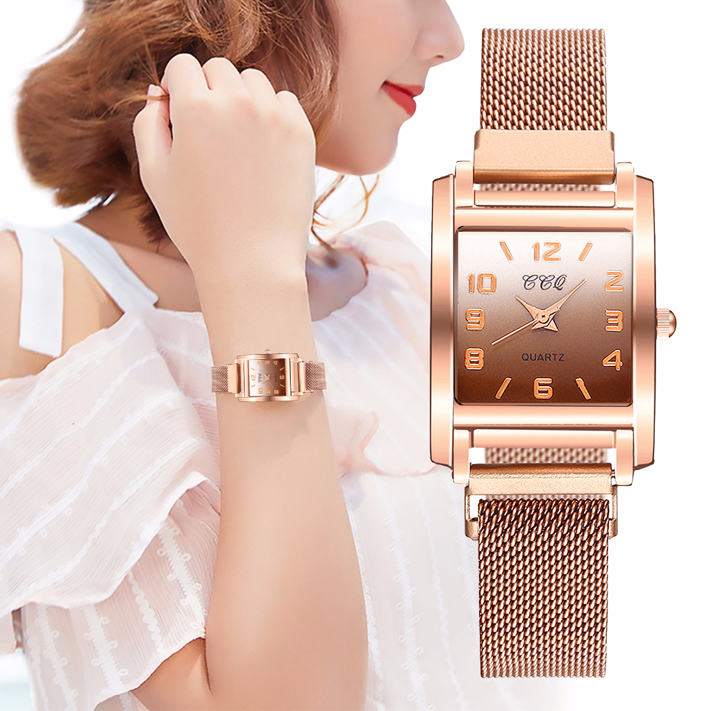 CCQ Women Magnet Buckle Gradient Color Arabic Numbers Watch Luxury Ladies Square Case Shape Quartz Watches Relogio Feminino