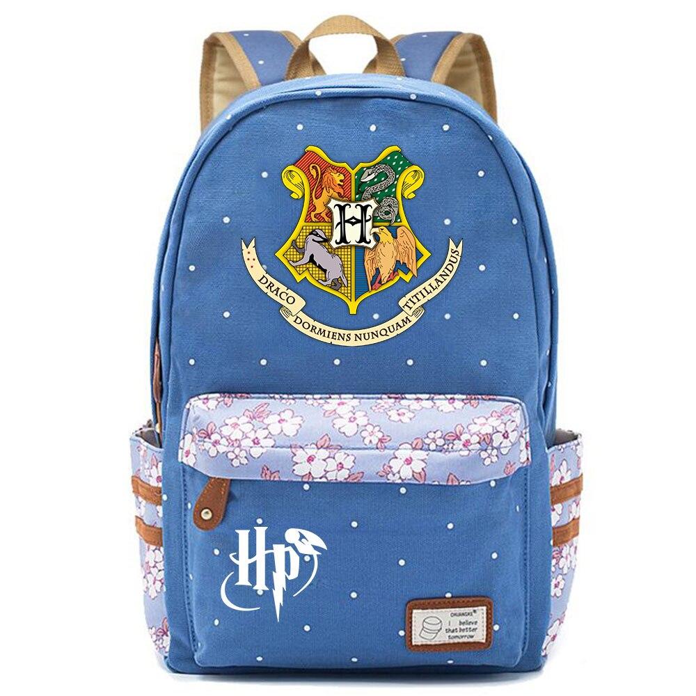 Image 3 - F0304 Magic Hogwarts School Logo Prints Children Schoolbag Girls School bag Women Bagpack Teenagers Canvas Lady Femme BackpackBackpacks   -