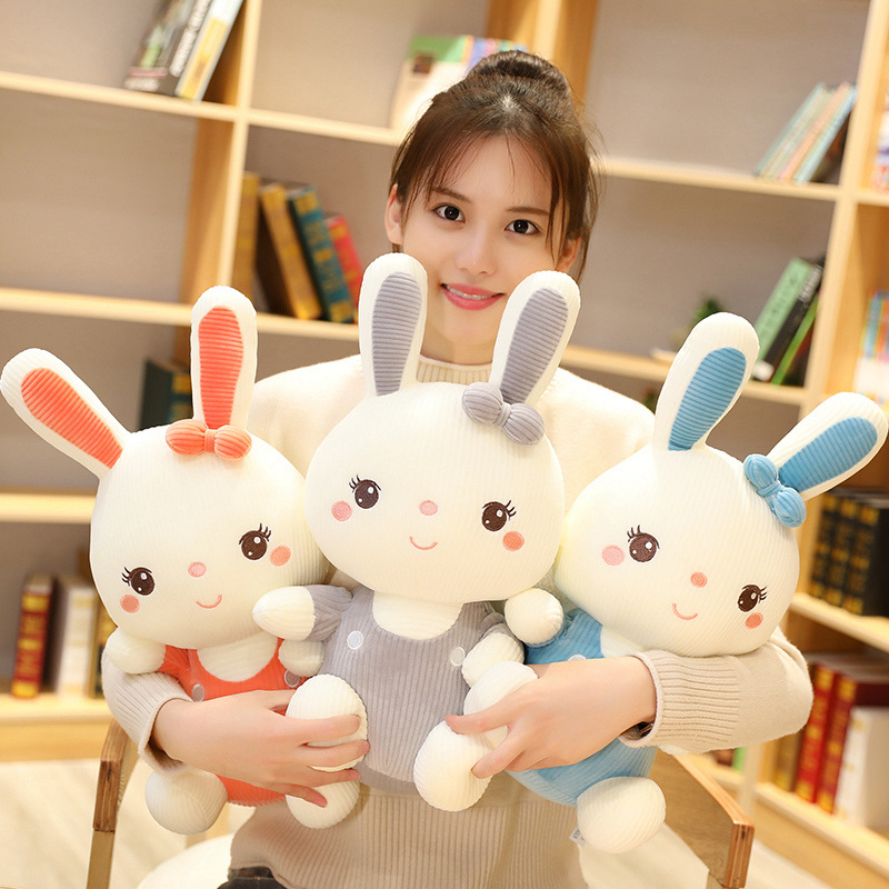 Hot Soft 1PC 30/45/60/<font><b>80CM</b></font> New Cartoon Cute Wear Clothes Rabbit Plush Toys Bunny Stuffed <font><b>Dolls</b></font> Kids Baby Appease Birthday Gifts image